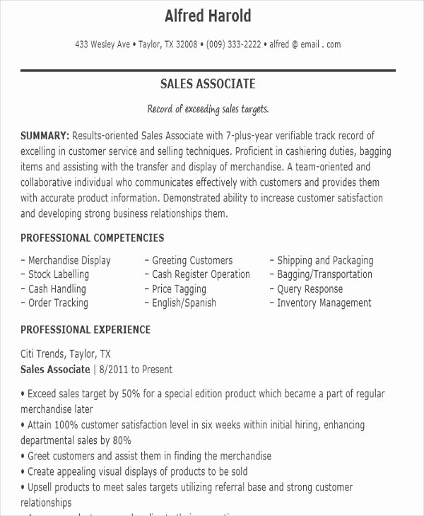 Sales associate Resume Template Unique 10 Sample Sales Job Resume Templates Pdf Doc