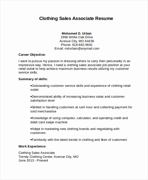 Sales associate Resume Template Unique Sales associate Resume Template 8 Free Word Pdf