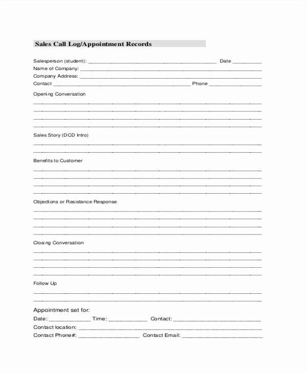 Sales Call Log Template Beautiful 17 Call Log Templates In Pdf