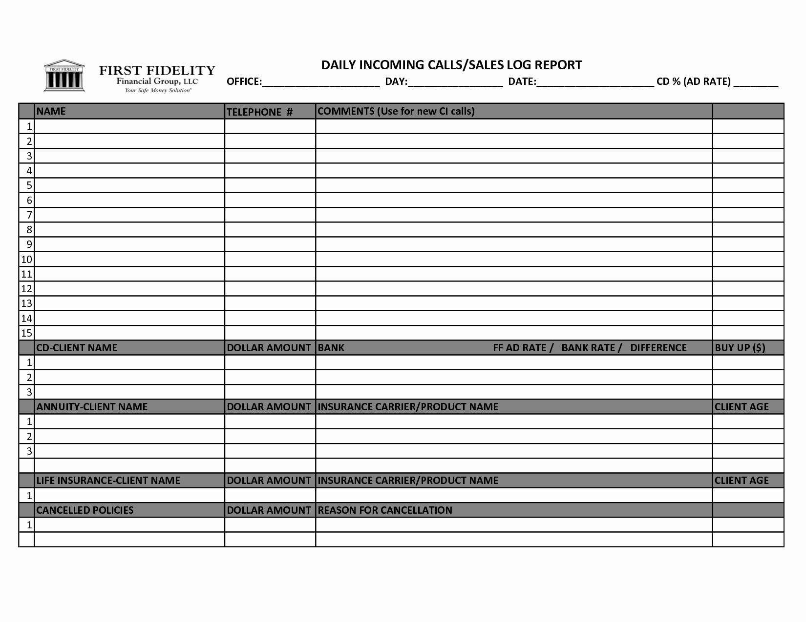 Sales Call Log Template Beautiful Best S Of Printable Daily Sales Sheet Sales Log