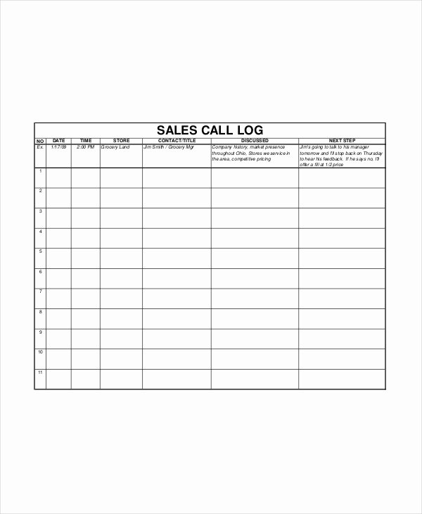 Sales Call Log Template Best Of Sales Log Template 5 Free Word Documents Download