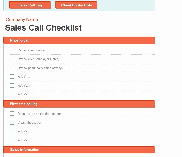 Sales Call Log Template Fresh Sales Call Log
