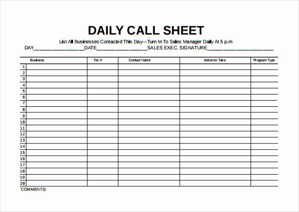 Sales Call Log Template Inspirational Call Sheet Template 23 Free Word Pdf Documents