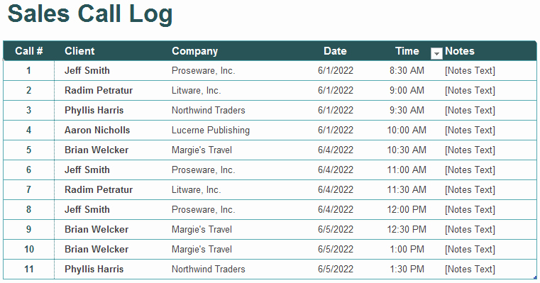 Sales Call Log Template New 5 Call Log Templates to Keep Track Your Calls