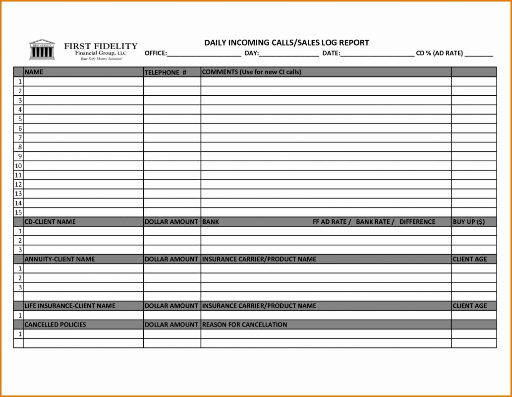 Sales Call Log Template New Punch List Templates