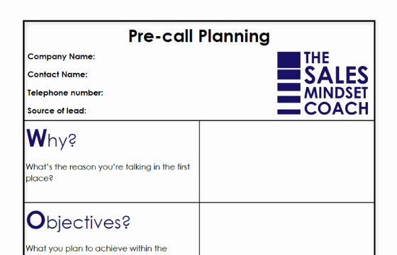Sales Call Plan Template Elegant Pre Call Planning Template the Sales Mindset Coach