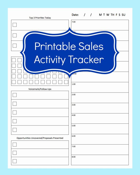 Sales Call Planner Template Inspirational Sales Activity Tracker Daily Planner Cold Call Tracker