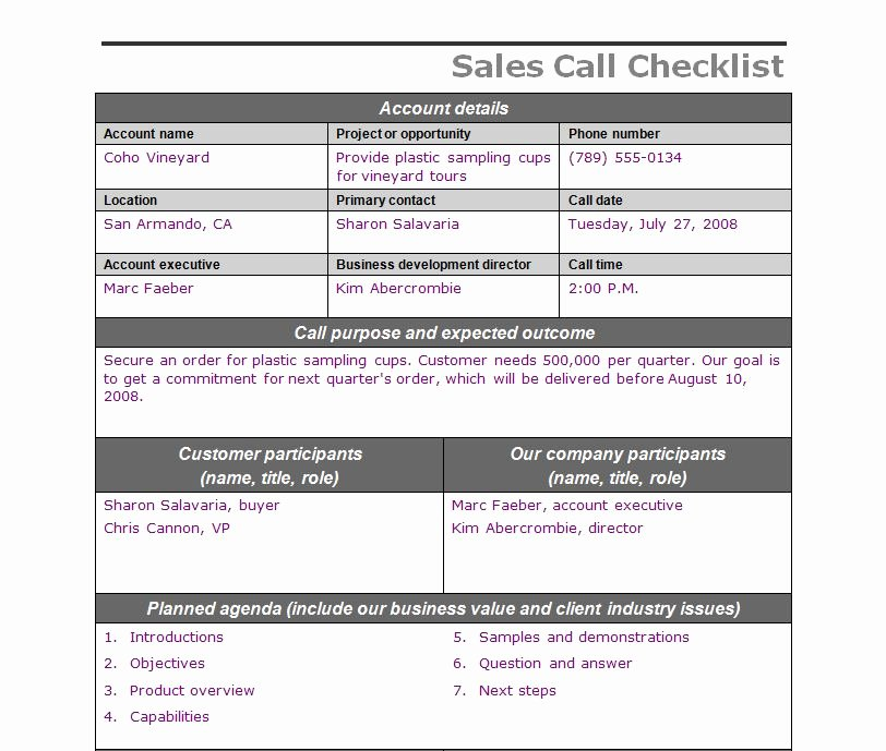 Sales Call Planner Template New Sales Call Checklist