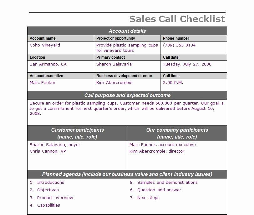 Sales Call Planning Template Elegant Sales Call Checklist