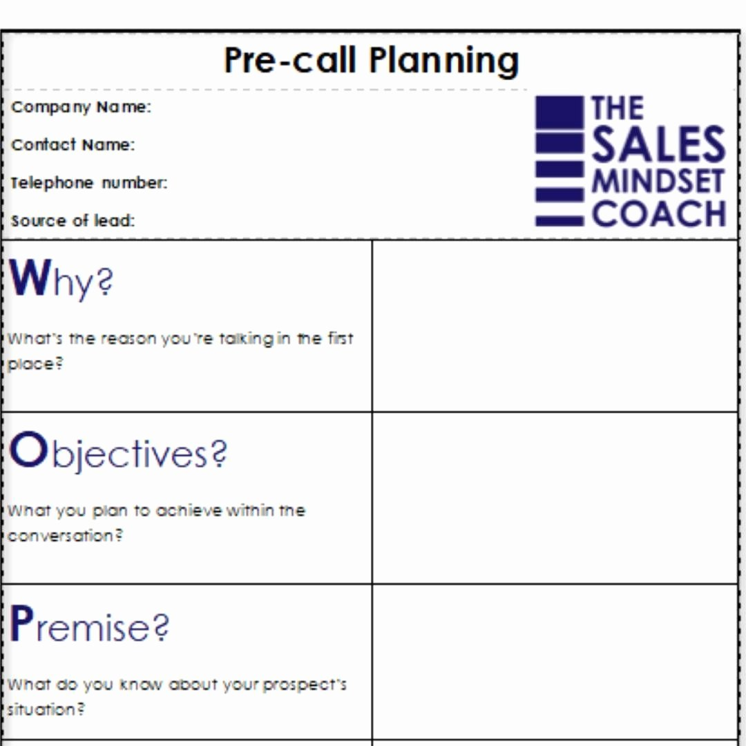 Sales Call Planning Template Inspirational Woppa Pre Call Planning isn T A Script It S A Structured