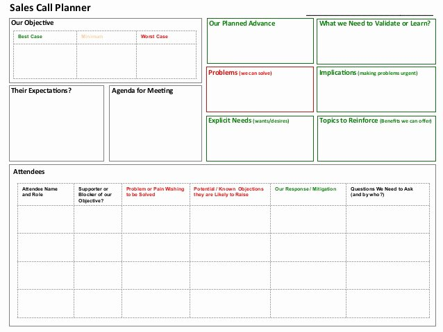 Sales Call Planning Template Lovely Sales Call Planner tool