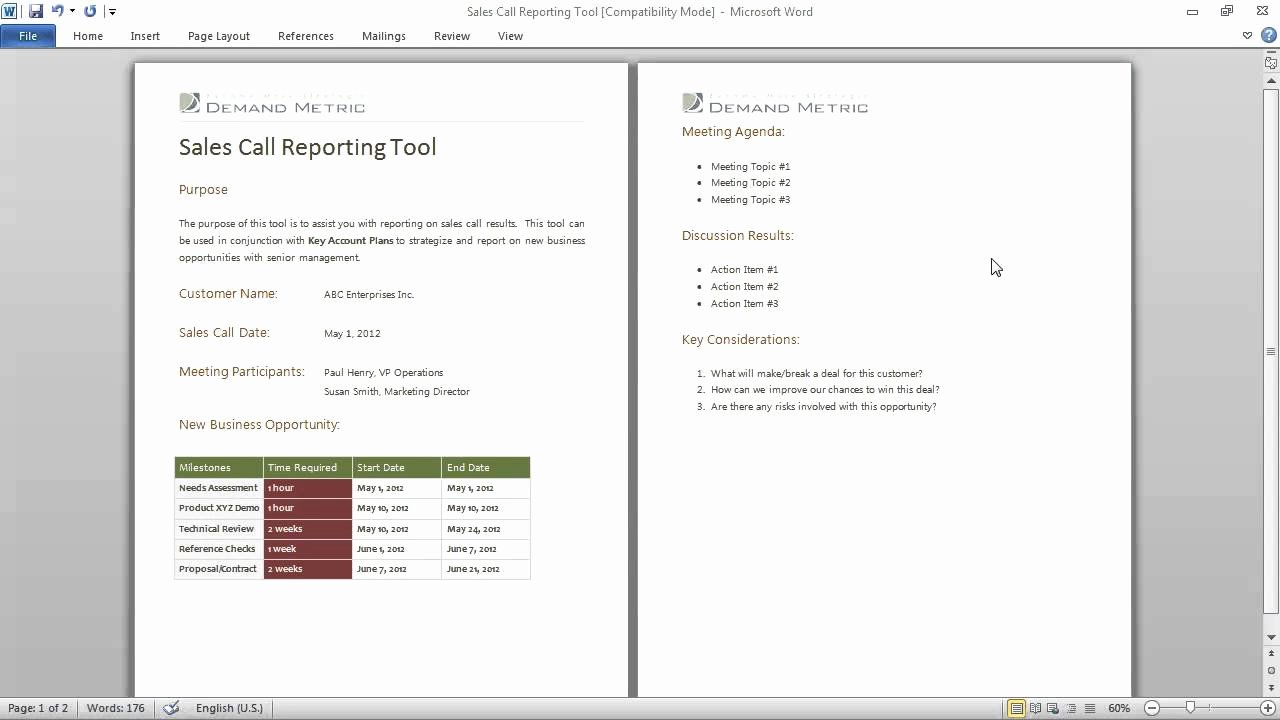 Sales Call Reporting Template Best Of Sales Call Reporting Template