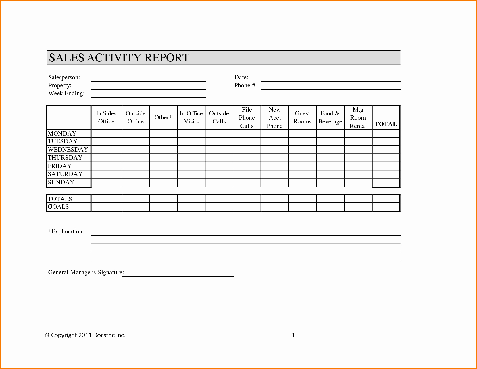 Sales Call Reporting Template Fresh Weekly Sales Report Template