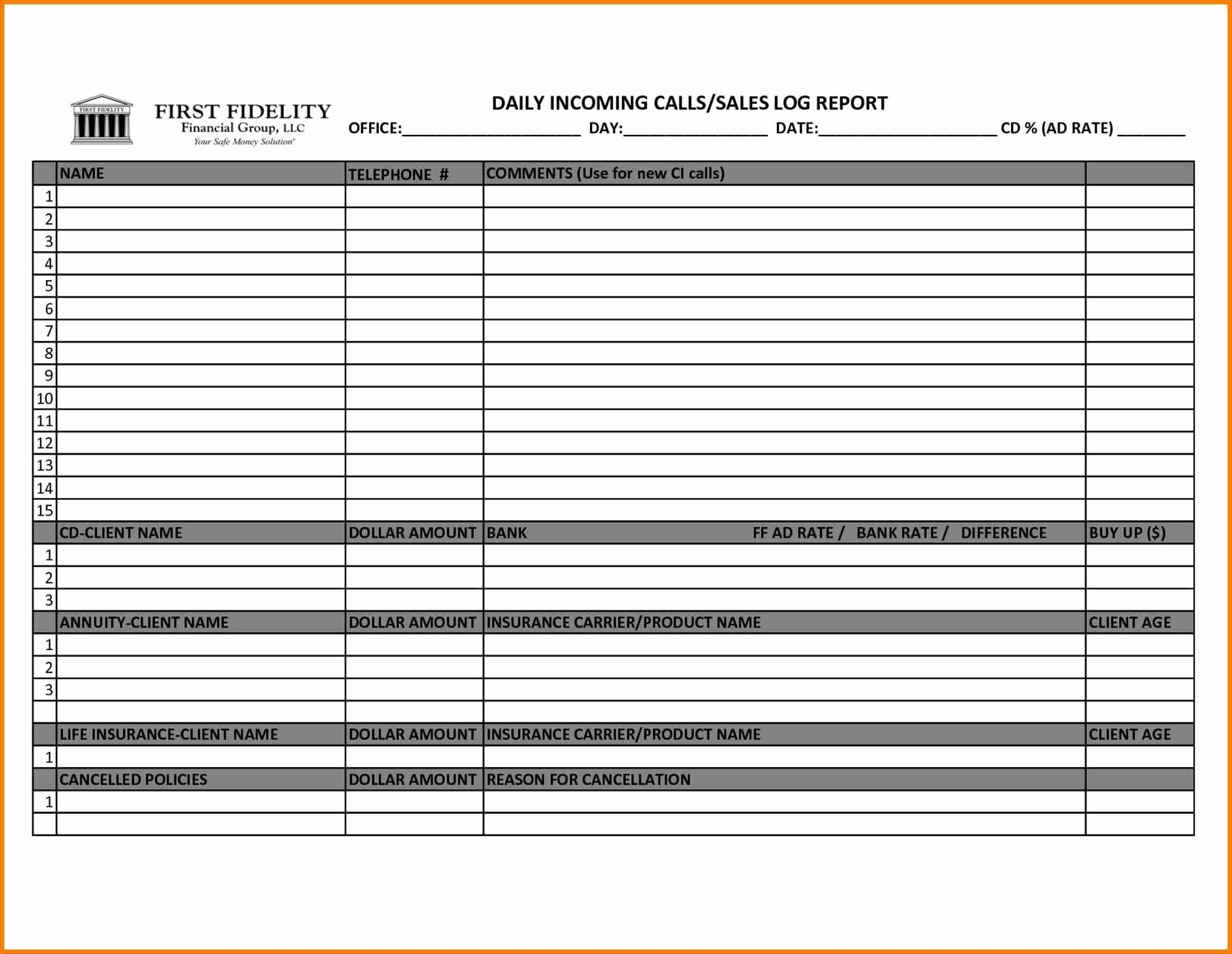 Sales Calls Report Template Best Of Hotel Sales Callort Sample Weekly Template form