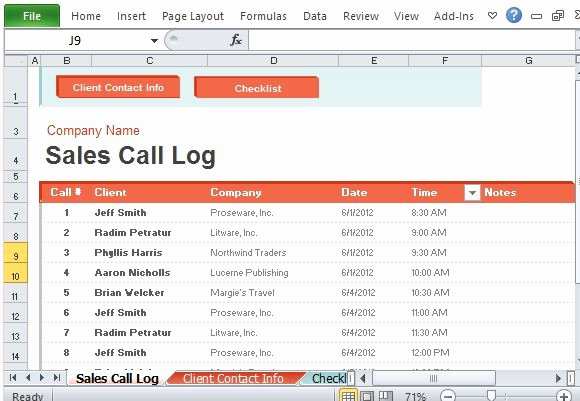 Sales Calls Report Template New Sales Call Log organizer for Excel