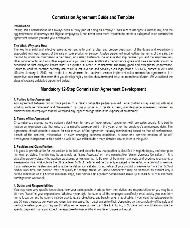 Sales Commission Agreement Template Awesome 36 Free Mission Agreements Sales Real Estate Contractor