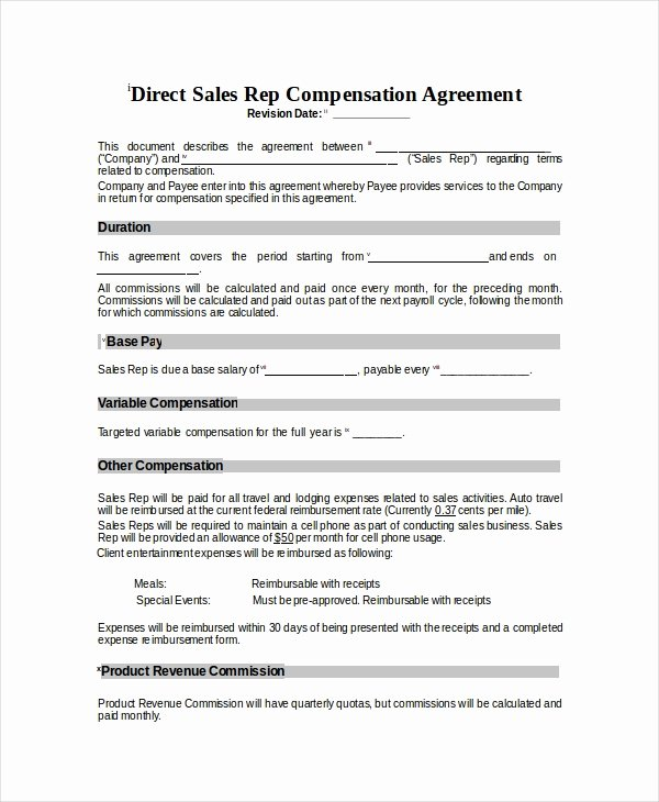 Sales Commission Agreement Template Beautiful Pensation Plan Template 8 Free Word Document