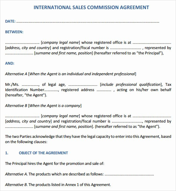 Sales Commission Agreement Template Elegant Sales Contract Template 7 Free Pdf Doc Download