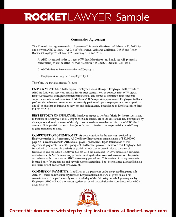 Sales Commission Agreement Template Elegant Sales Mission Agreement Template form with Sample