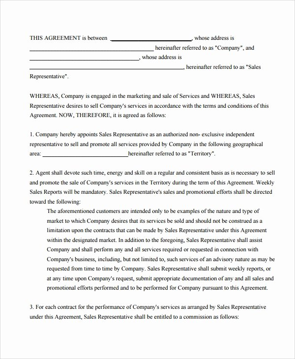 Sales Commission Agreement Template Fresh 9 Mission Sales Agreement Templates