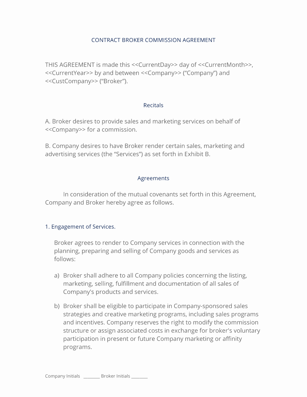 Sales Commission Agreement Template New Broker Mission Sales Agreement 3 Easy Steps