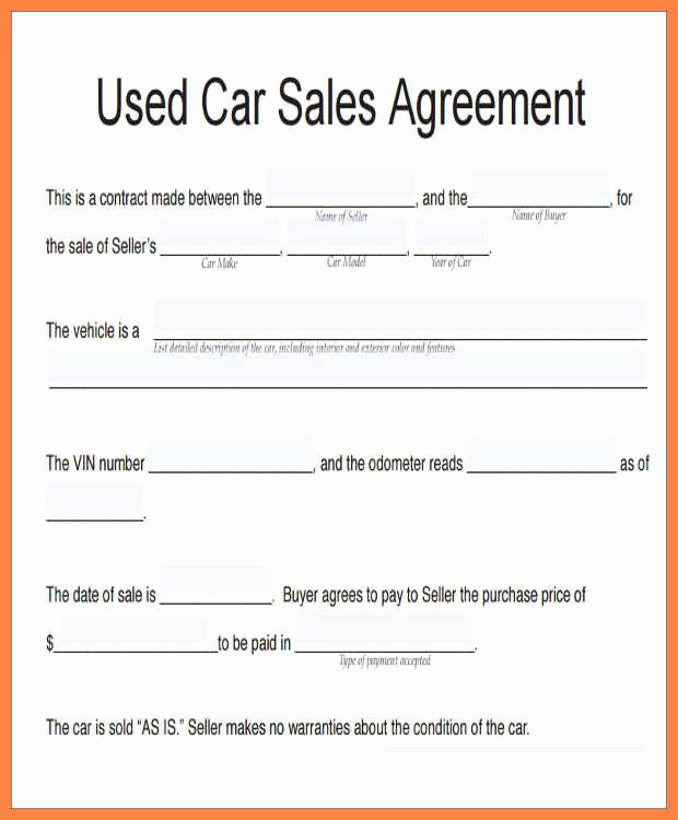 car sale agreement word doc