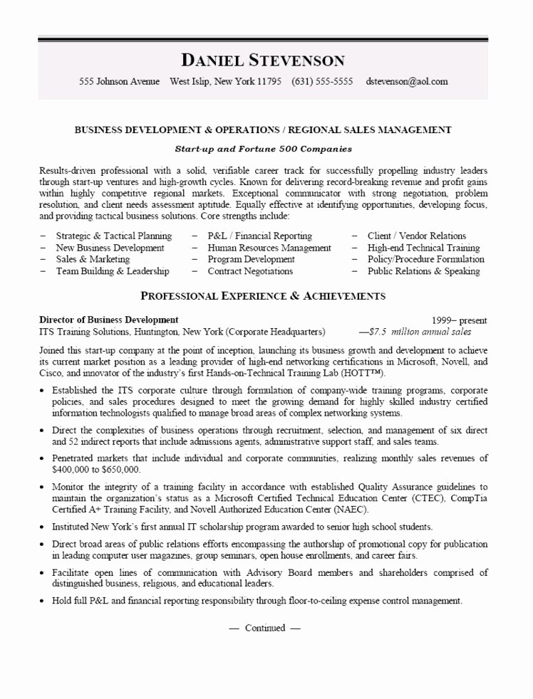 Sales Manager Resume Template Beautiful Business Development and Regional Sales Manager Resume