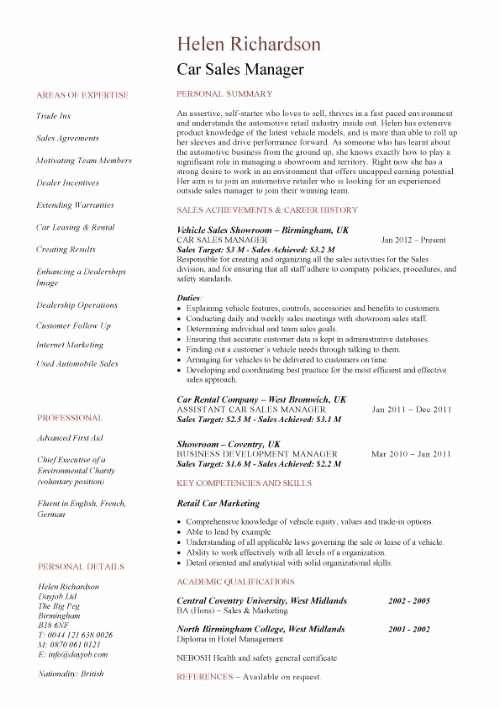 Sales Manager Resume Template Beautiful Car Sales Manager Resume Template Resume Help