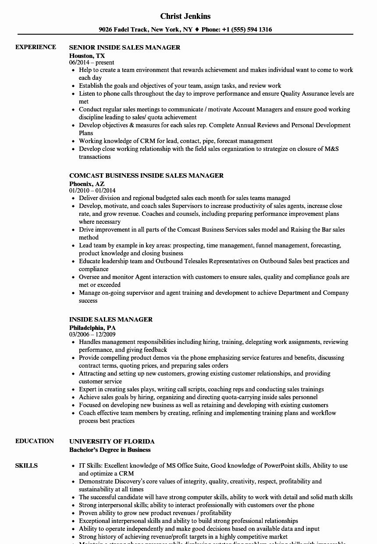 Sales Manager Resume Template Best Of Resume Inside Sales Annecarolynbird