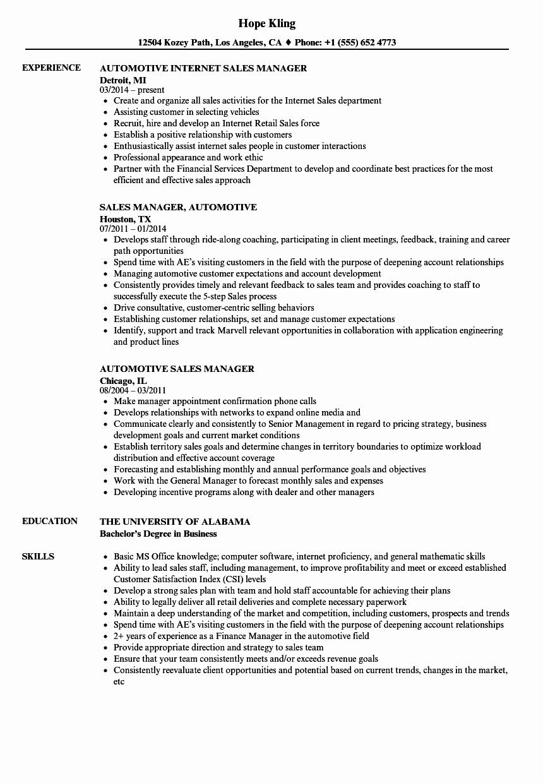 Sales Manager Resume Template Fresh Car Sales Resume Sample