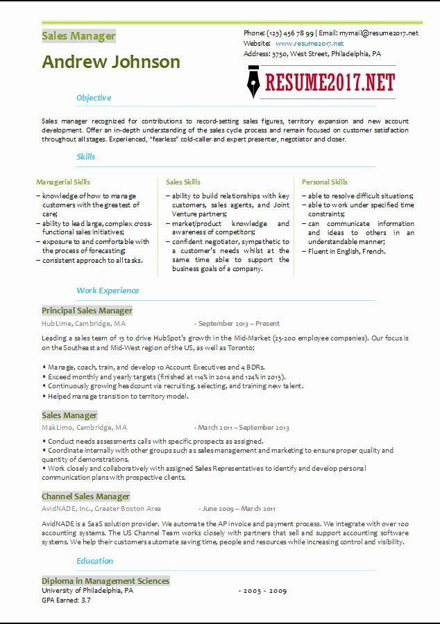 Sales Manager Resume Template Fresh Sales Manager Resume Template 2017