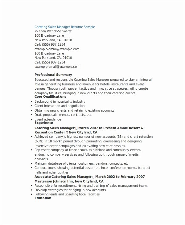 Sales Manager Resume Template Fresh Sales Manager Resume Template 7 Free Word Pdf