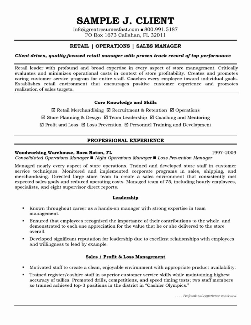 Sales Manager Resume Template Lovely Retail Operations and Sales Manager Resume