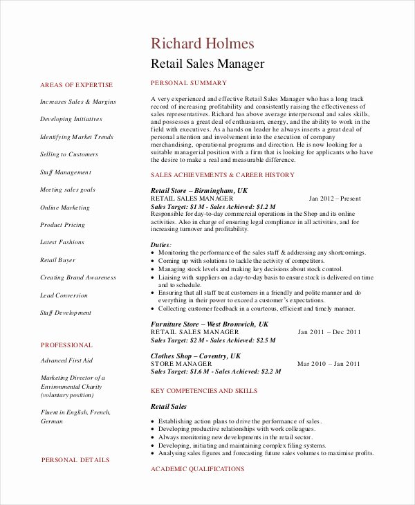 Sales Manager Resume Template New Sales Manager Resume Template 7 Free Word Pdf