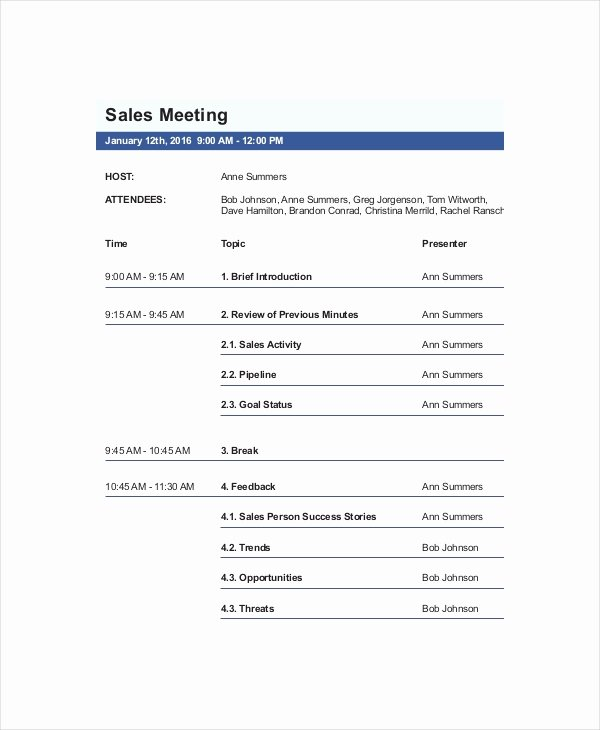 Sales Meeting Agenda Template Awesome 12 Sales Meeting Agenda Templates – Free Sample Example