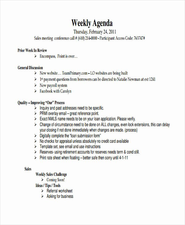 Sales Meeting Agenda Template Beautiful 9 Sales Agenda Templates Free Sample Example format