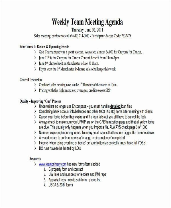 Sales Meeting Agenda Template Best Of 46 Meeting Agenda Templates