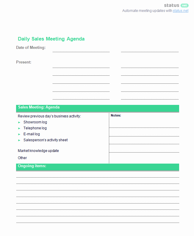 Sales Meeting Agenda Template Inspirational Conducting A Productive Sales Meeting [2 Agenda Templates