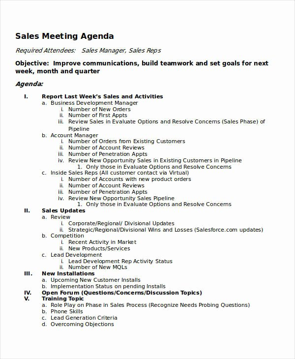 Sales Meeting Agenda Template Luxury 10 Meeting Agenda Samples Free Sample Example format