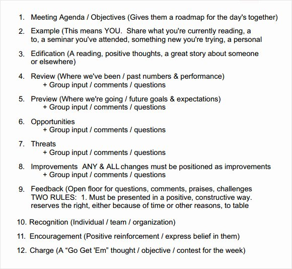 Sales Meeting Agenda Template Unique 8 Sales Meeting Agenda Templates to Free Download