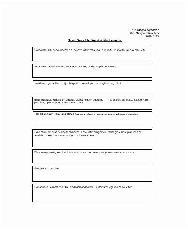 Sales Meeting Agenda Template Unique Sales Meeting Agenda Template – 11 Free Word Pdf