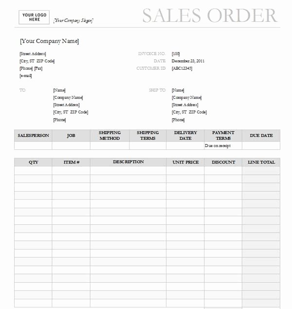 Sales order form Template Awesome Sales order Templates