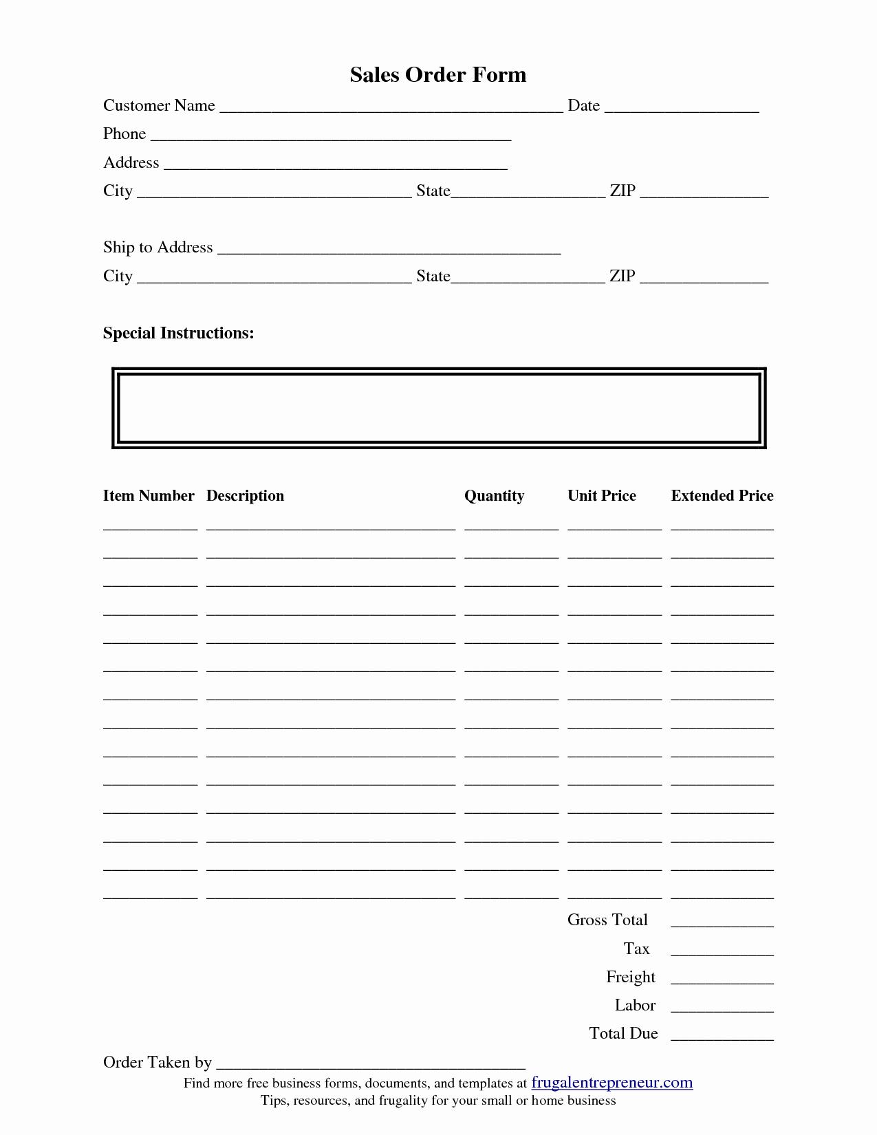 Sales order form Template Inspirational order form Template