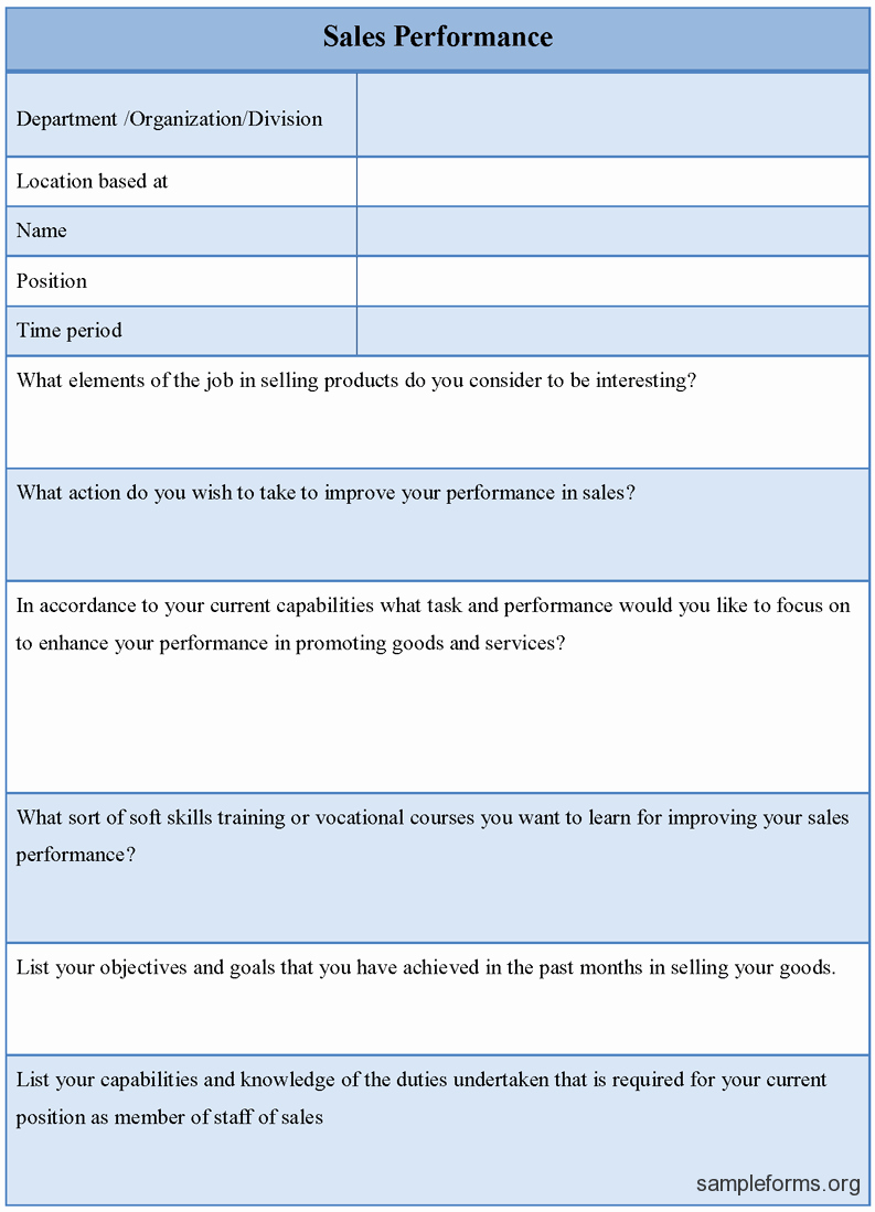 Sales Performance Review Template Best Of Sales Performance form Sample forms