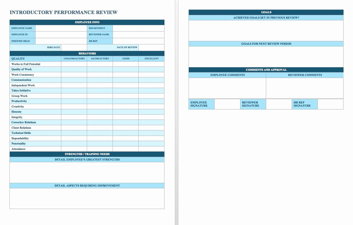 Sales Performance Review Template Elegant Free Employee Performance Review Templates Smartsheet