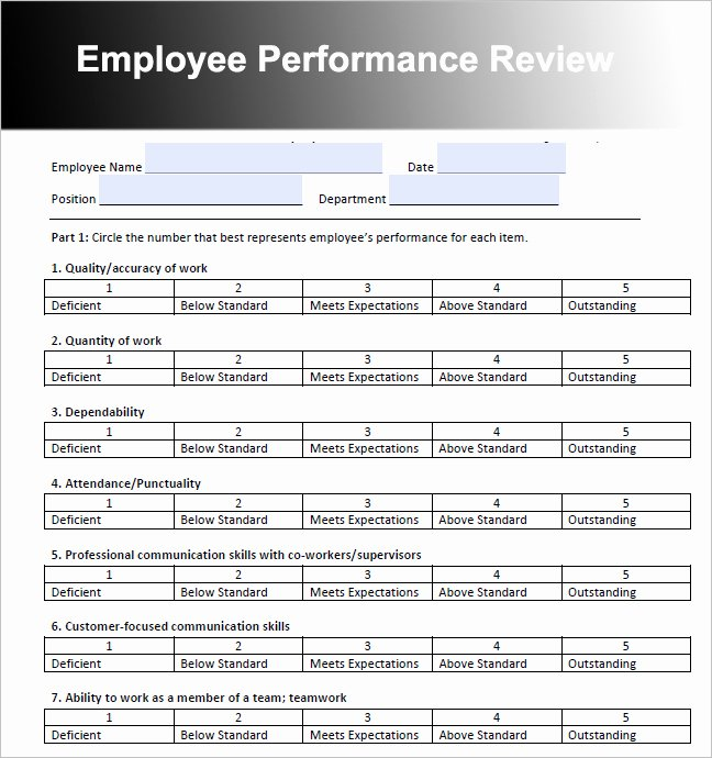 Sales Performance Review Template Fresh 26 Employee Performance Review Templates Free Word Excel