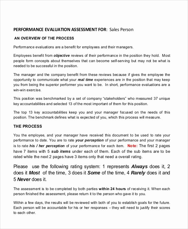 performance evaluation samples
