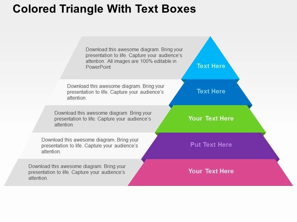 Sales Plan Template Ppt Fresh Colored Triangle with Text Boxes Flat Powerpoint Design