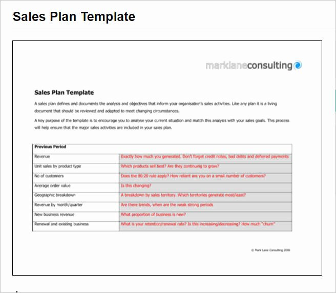 Sales Plan Template Word Best Of 7 Sales Plan Template Free Word form Pdf formats