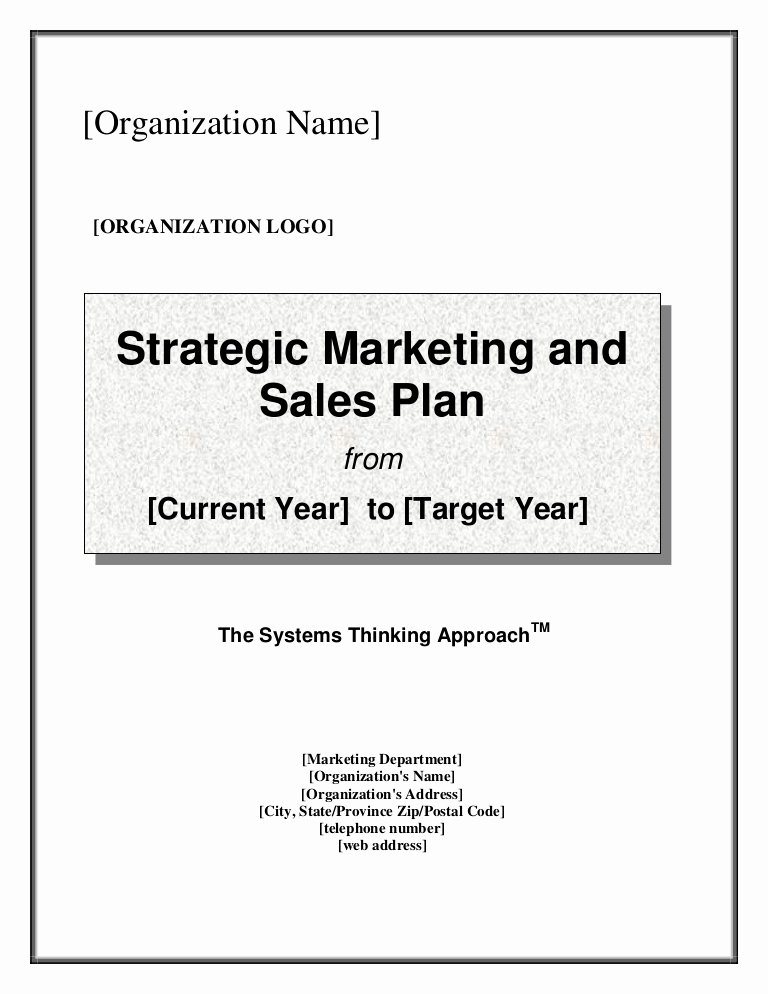 Sales Plan Template Word Luxury Strategic Marketing & Sales Plan Template